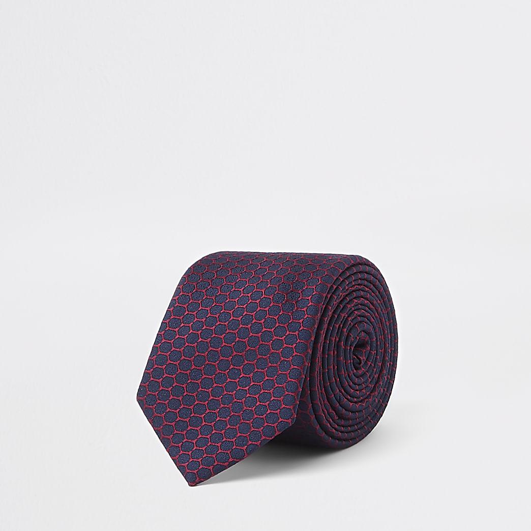 Marineblauwe stropdas met geometrische print
