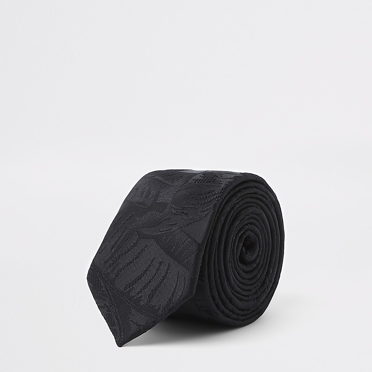 Cravate en jacquard imprimé feuilles noire
