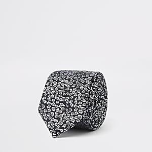 Cravate imprimé léopard noire