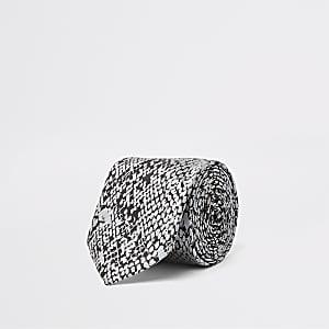 Cravate imprimé serpent grise