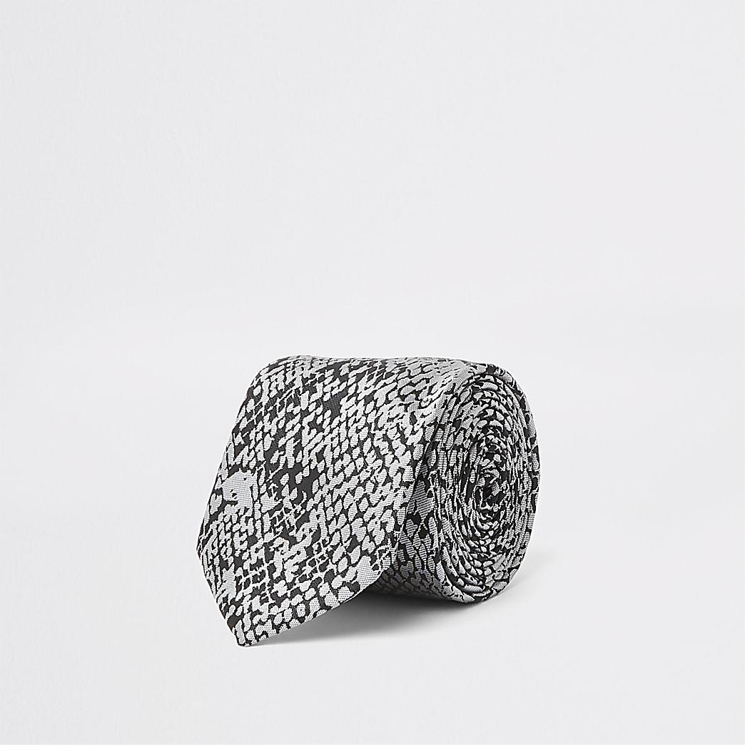 Grey snake print tie