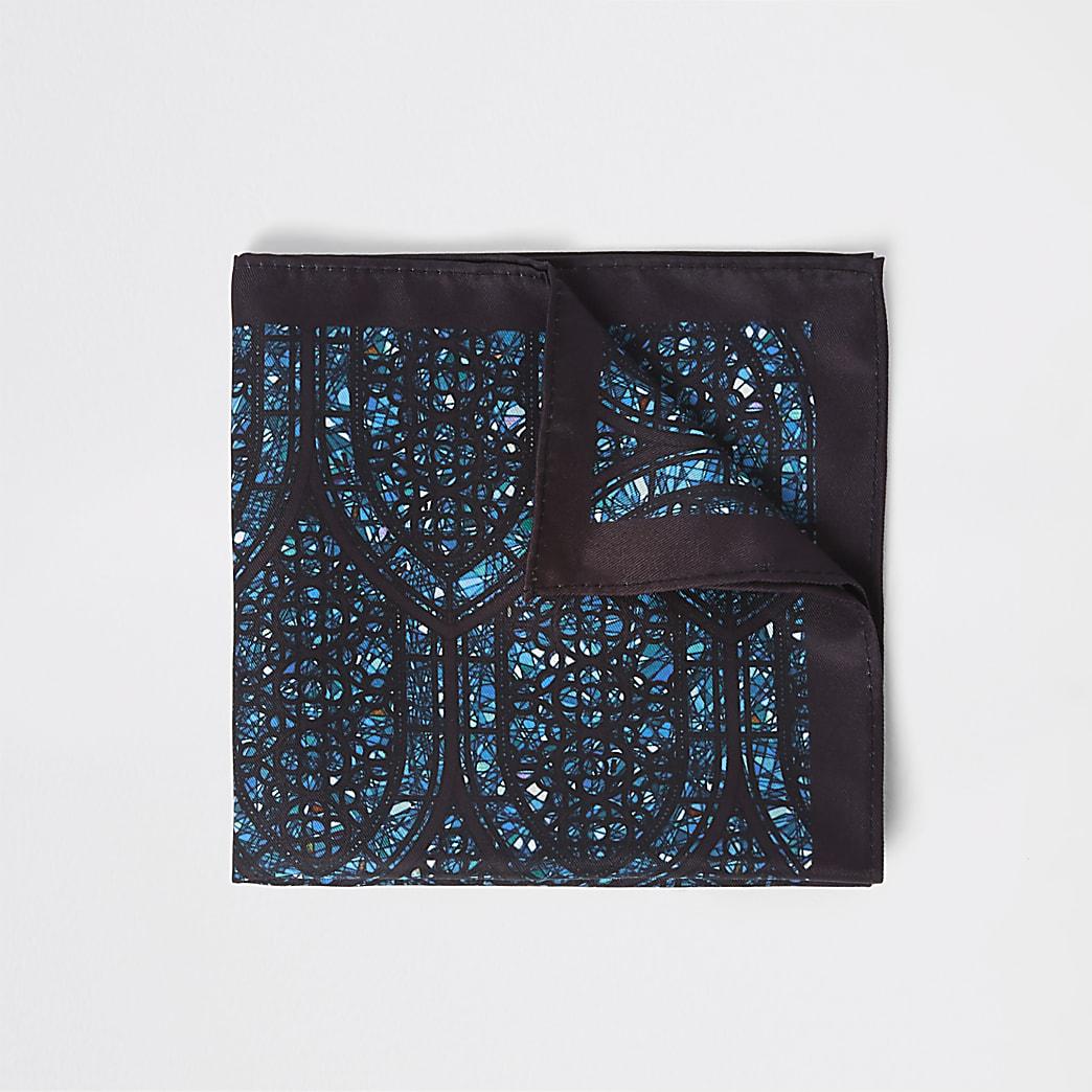 Zwarte zakdoek met glas-in-lood-print