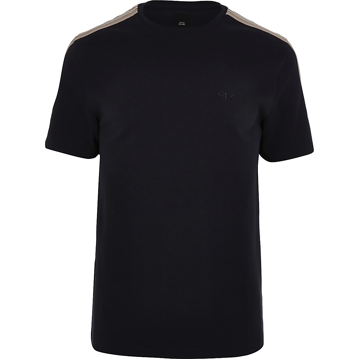 Big and Tall - Marineblauw T-shirt met bies en ronde hals