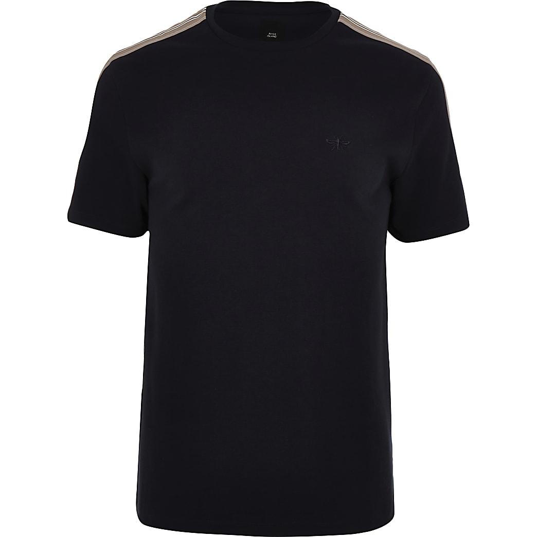Big & Tall – Marineblaues T-Shirt mit Rundhalsausschnitt