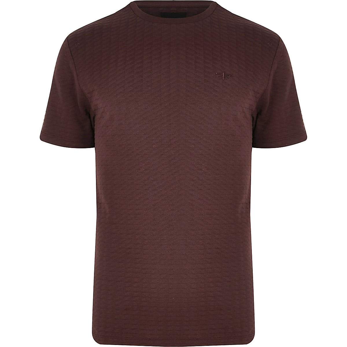 Big and Tall - Rood T-shirt met wafeldessin en korte mouwen