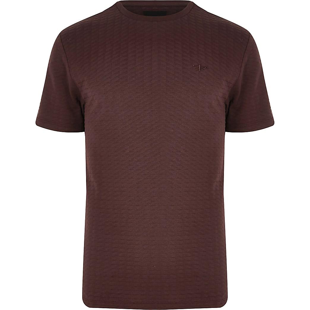 Big and Tall –  Rotes, kurzärmeliges Hemd mit Waffelstruktur