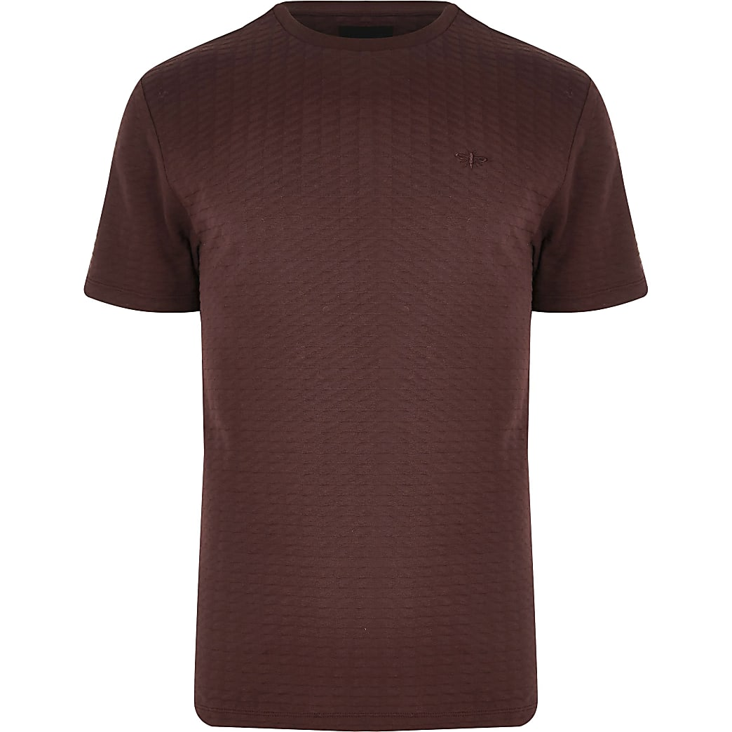 Big and Tall – T-shirt rouge gaufré à manches courtes