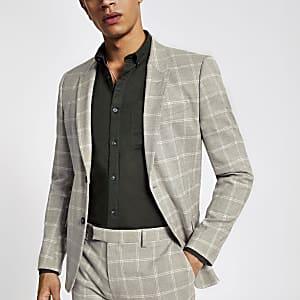 Veste de costume skinny à carreaux grège