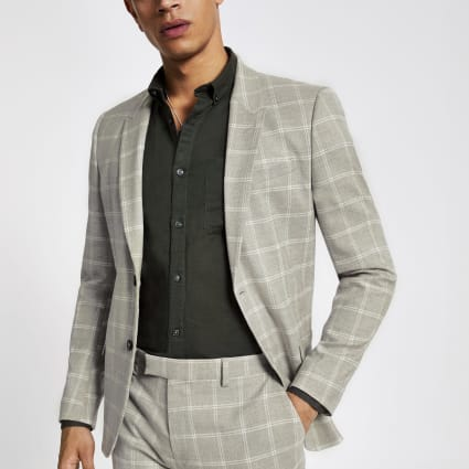 Stone check skinny suit jacket