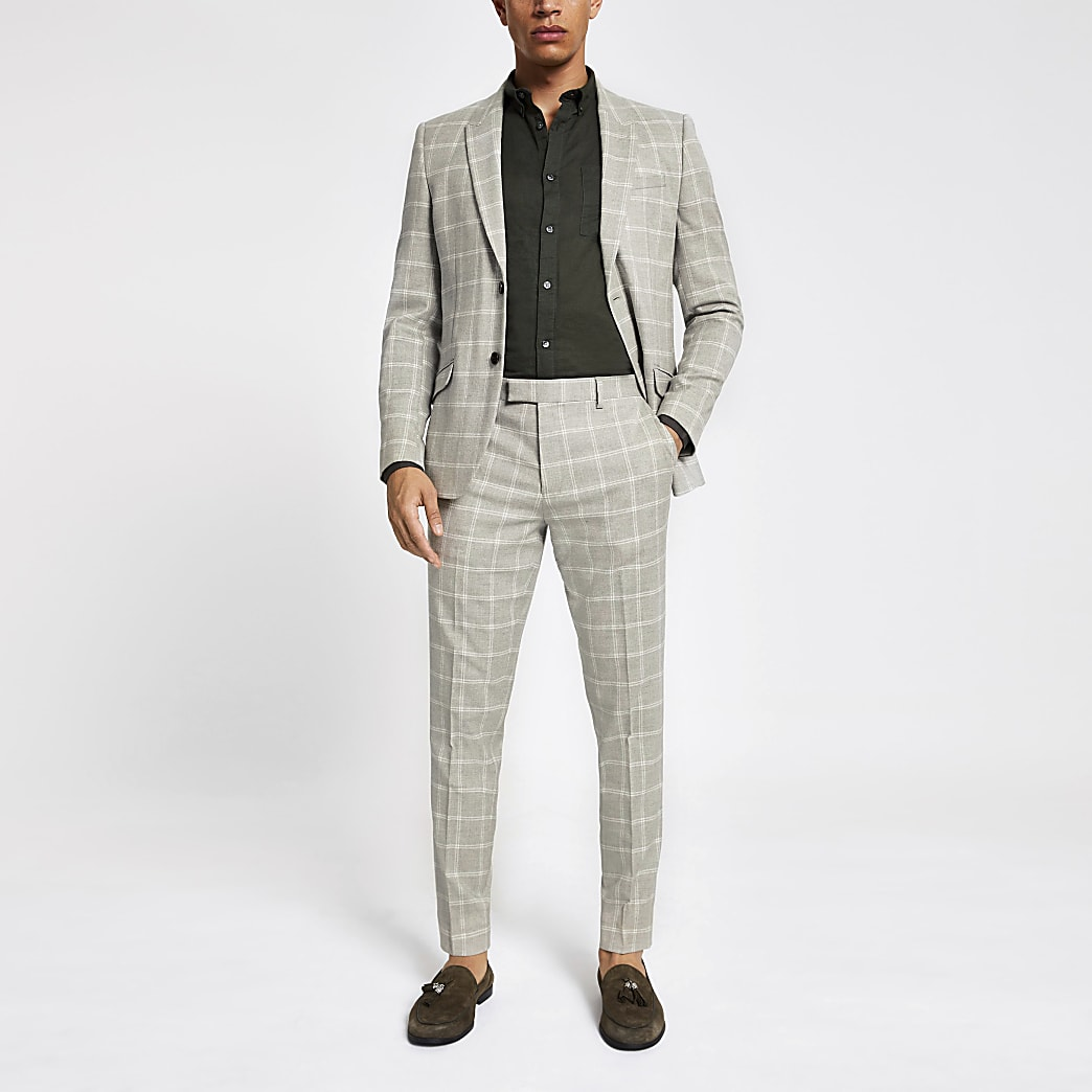 Stone check print skinny suit trousers