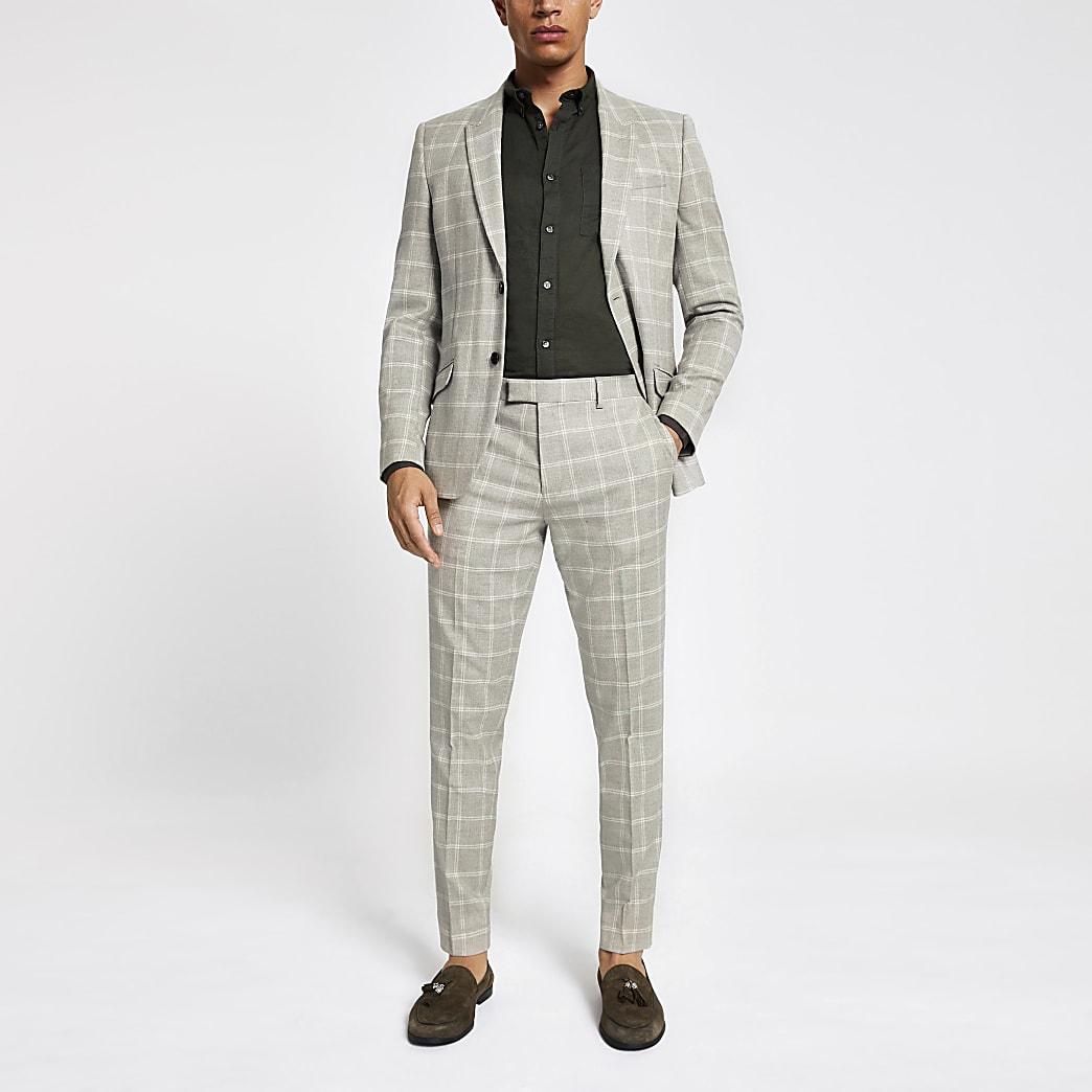 Pantalon de costume skinny à carreaux grège