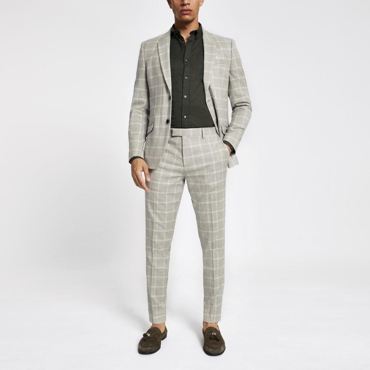Stone check print skinny suit pants