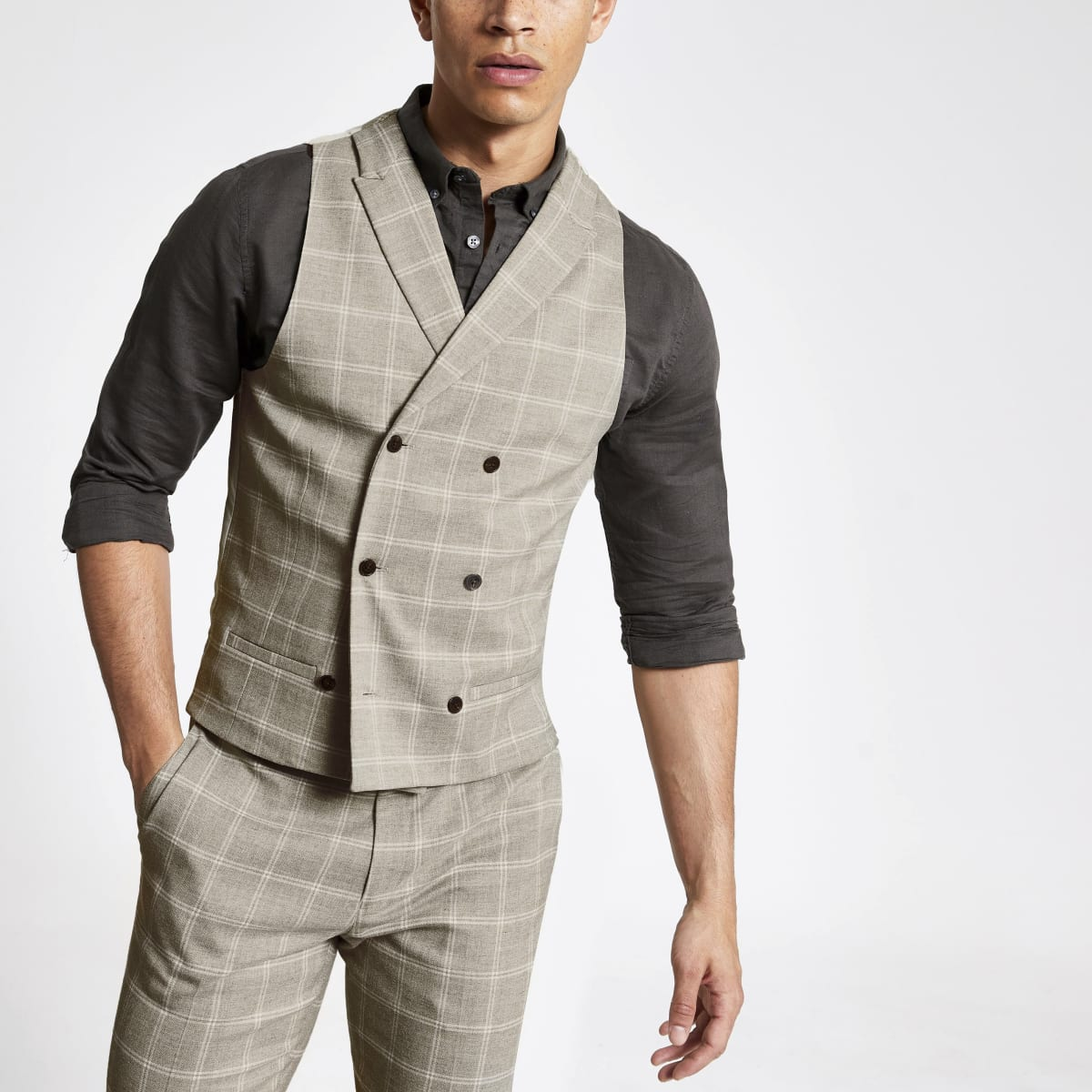 Stone check print slim fit vest