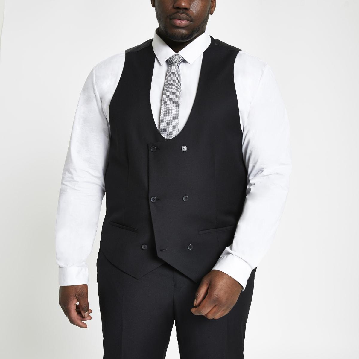 Big & Tall – Schwarze, zweireihige Weste