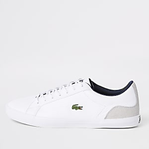 Lacoste white leather contrast trainers