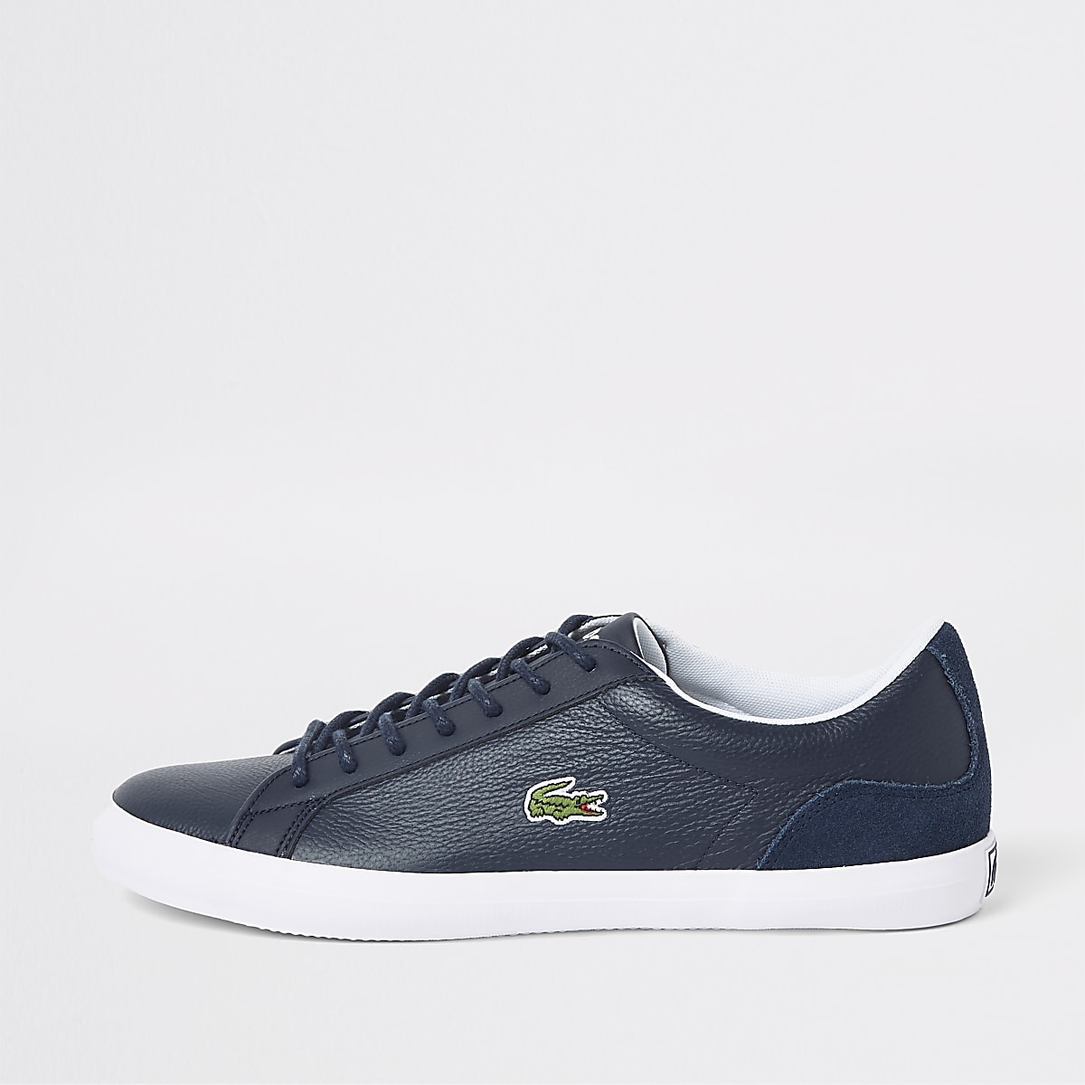 Lacoste navy textured lace-up trainers