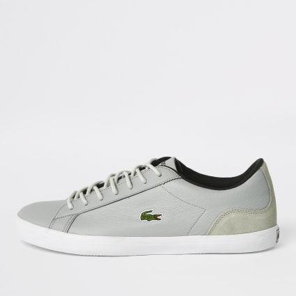 Lacoste grey leather lace-up trainers