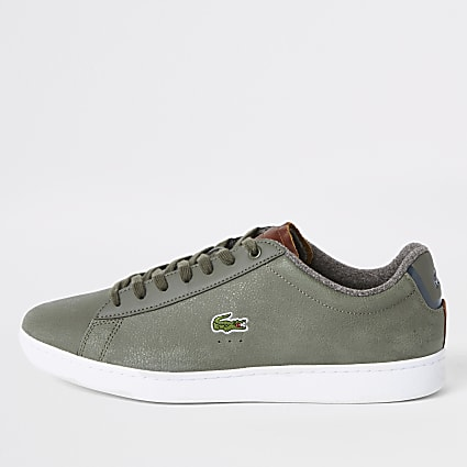 Lacoste leather green court lace-up trainers