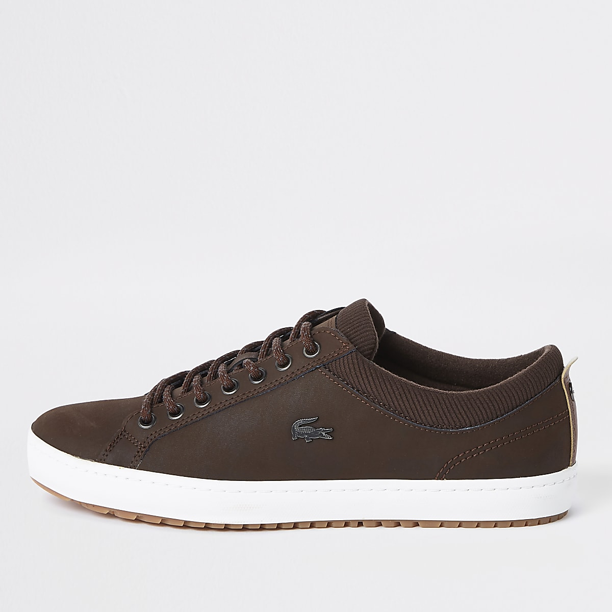 Lacoste - Bruine leren vetersneakers