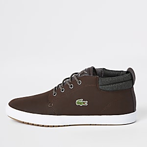 Lacoste brown leather mid top sneakers