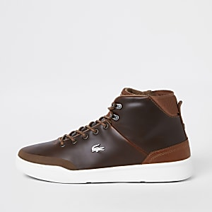 Lacoste brown leather hi top sneakers
