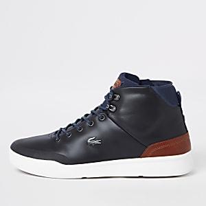 Lacoste - Marineblauwe leren hoge sneakers