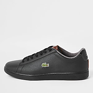 Lacoste leather black court lace-up sneakers