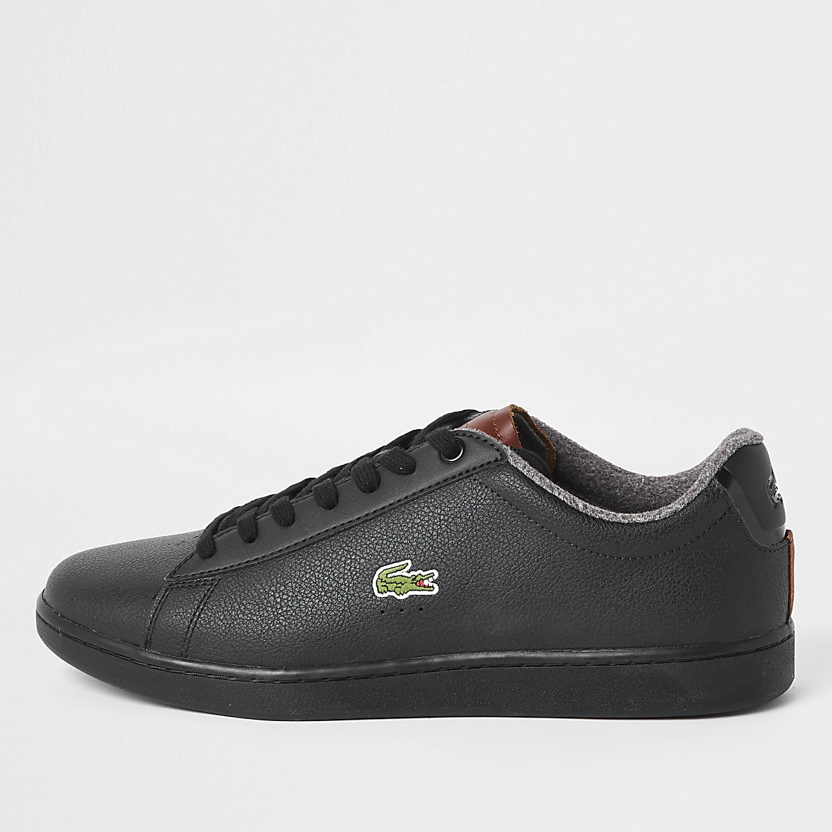 Lacoste leather black court lace-up trainers