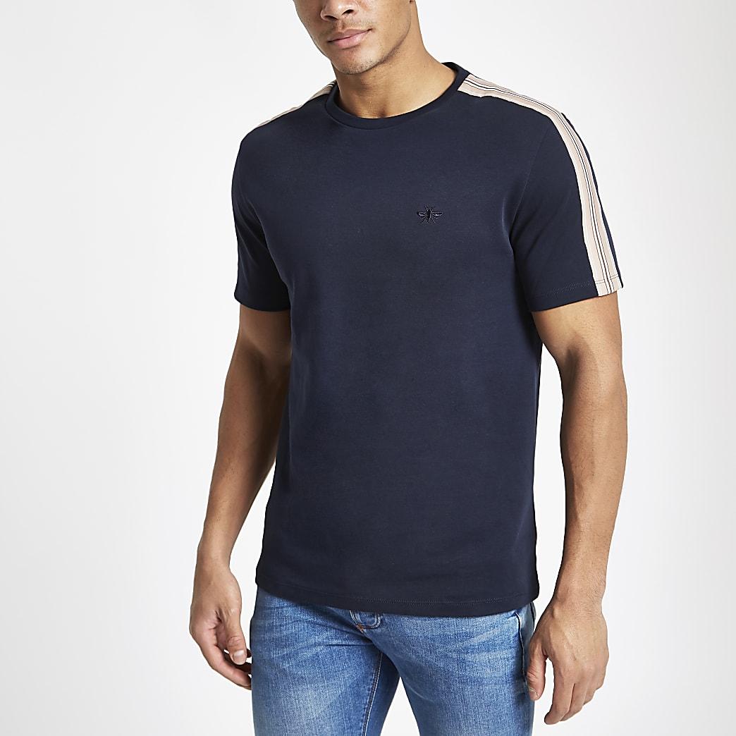 Marineblauw slim-fit T-shirt met bies en ronde hals