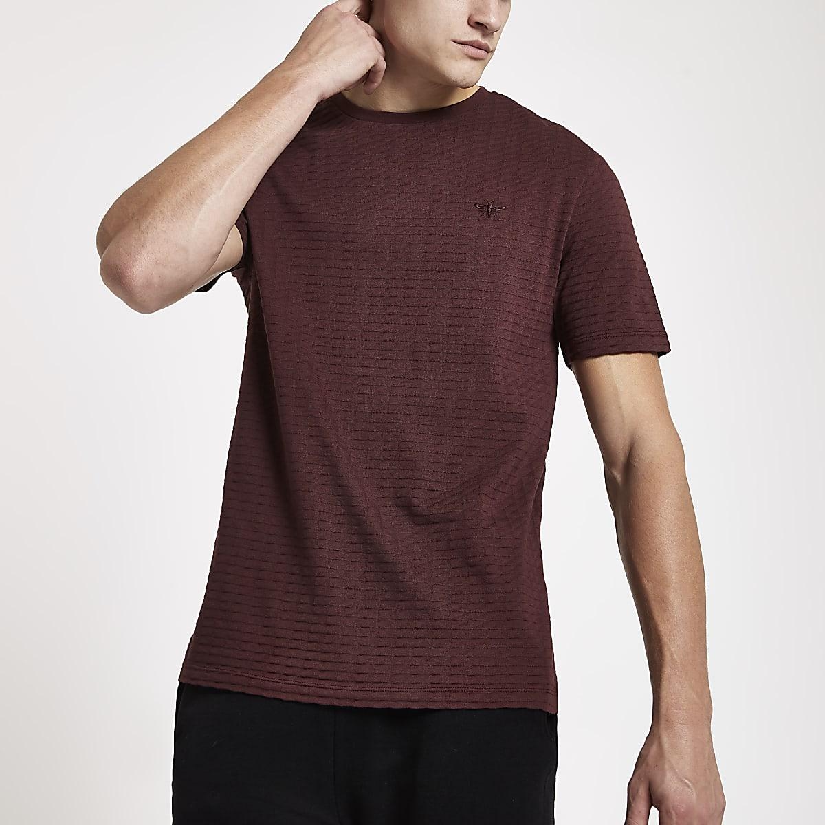 Rood slim-fit T-shirt met wafeldessin en korte mouwen