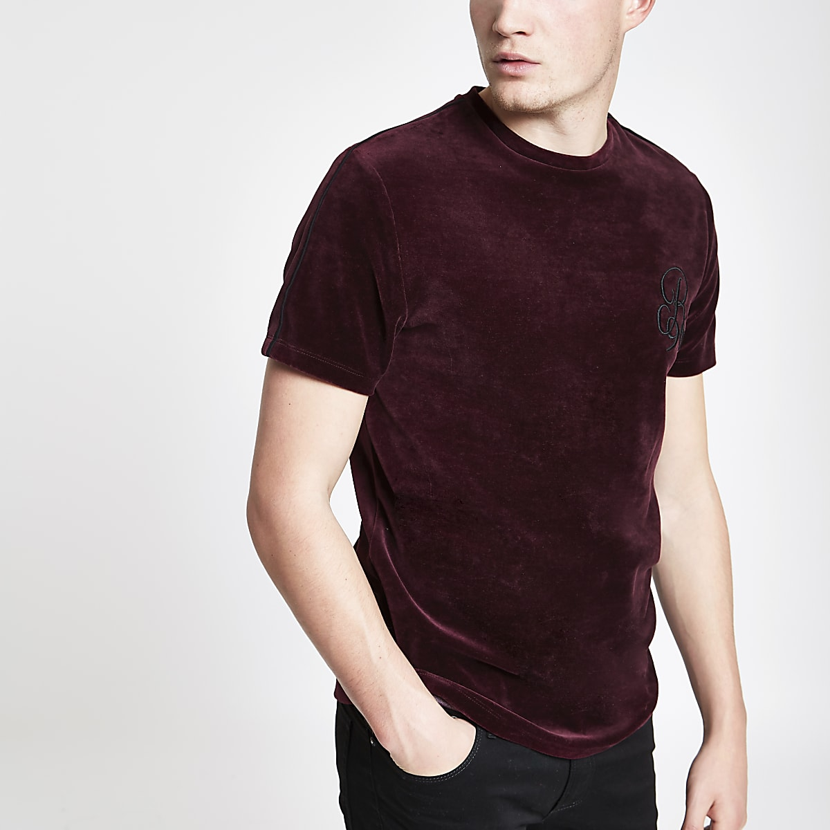 Red R96 muscle fit velour piped T-shirt