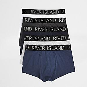 Lot de 5 boxers bleus avec taille RI