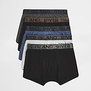 Set met 5 grijze strakke boxers met RI-logo en metallic tailleband