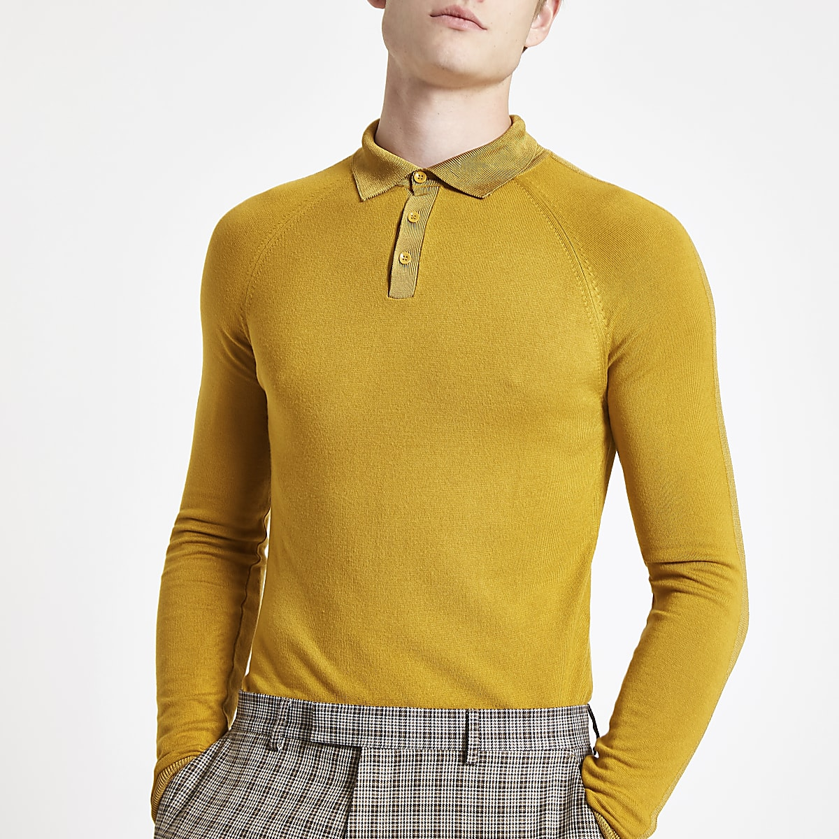Yellow muscle fit polo shirt