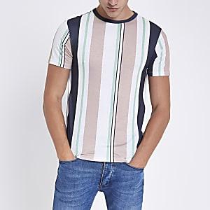 Pink vertical stripe T-shirt