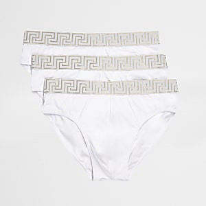 Set van 3 witte slips met barokprint