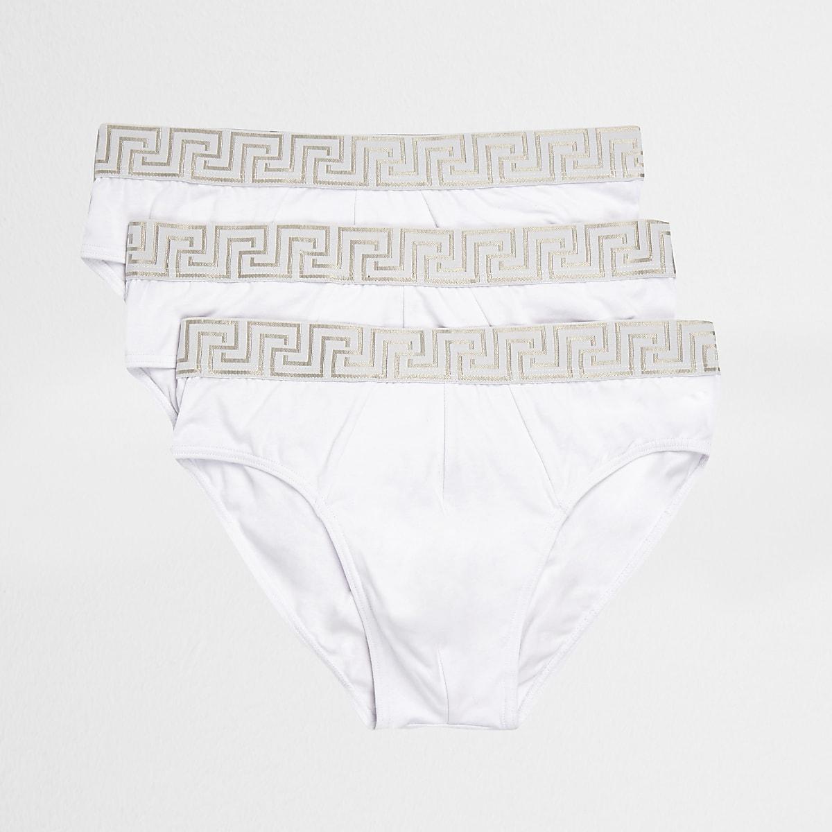 White baroque print briefs 3 pack