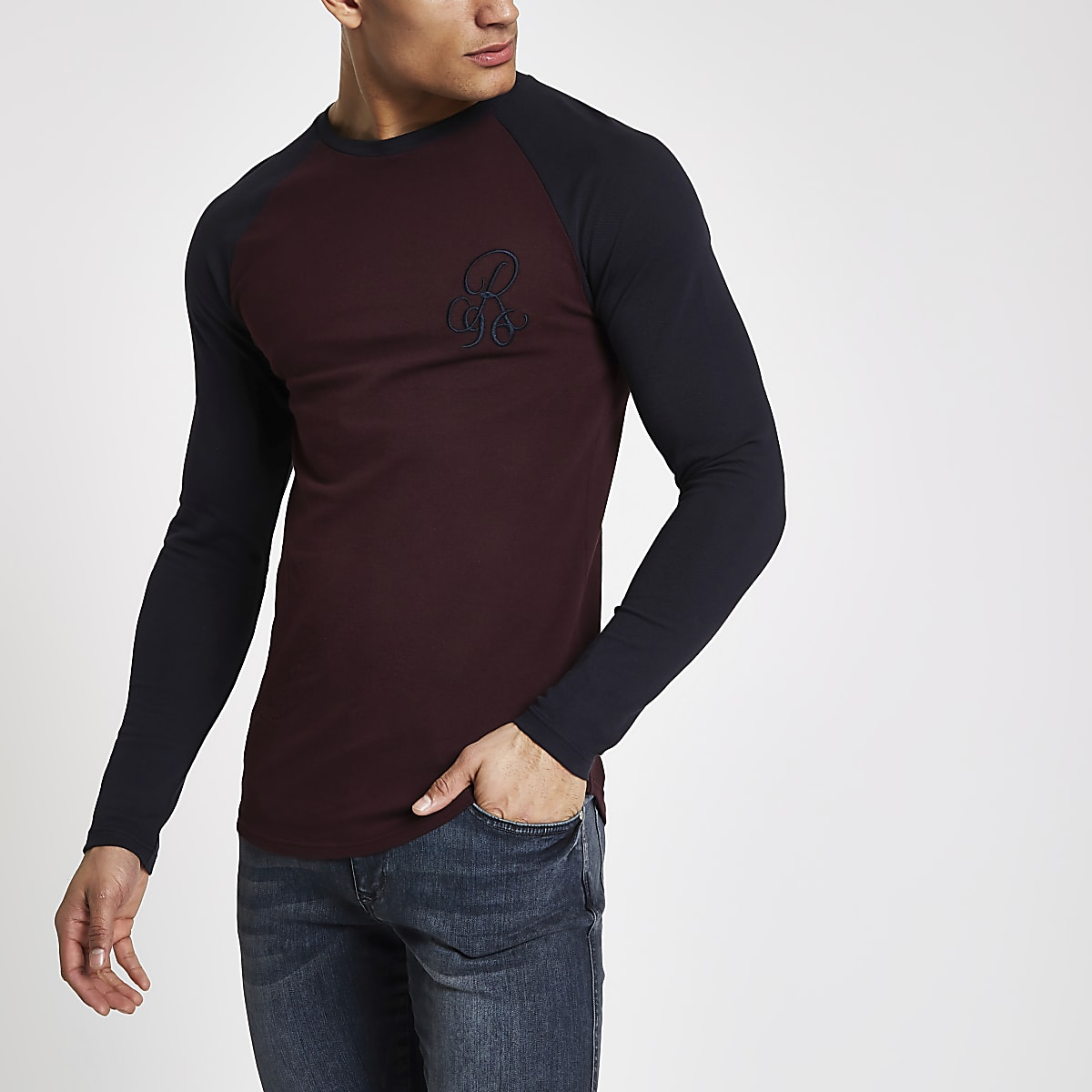 34489d7dd08 Dark red R96 muscle fit long sleeve T-shirt
