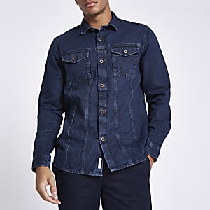 Blue button down denim shirt
