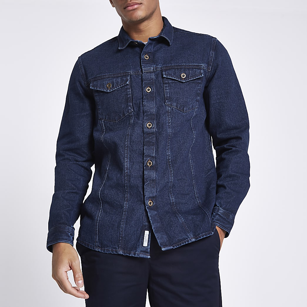 Blauw denim overhemd met knopen