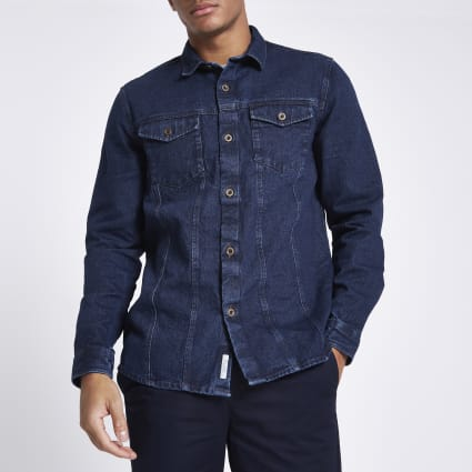 Blue button through denim shirt