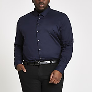 Big and Tall – Chemise en popeline bleu marine