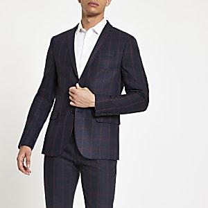 Veste de costume cintrée à carreaux bleu marine