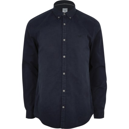Navy button down stretch long sleeve shirt