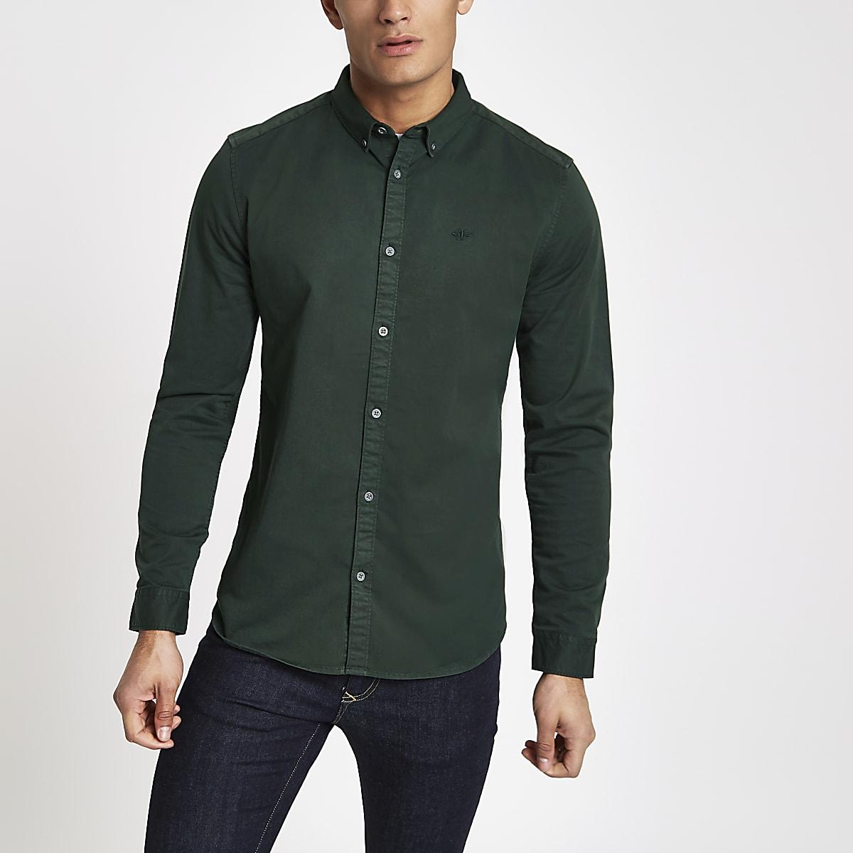 Donkergroen Overhemd.Donkergroen Overhemd Met Stretch En Lange Mouwen Overhemden Met