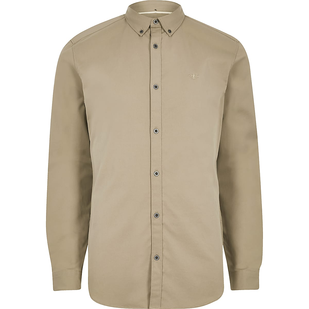 Tan wasp embroidery stretch long sleeve shirt
