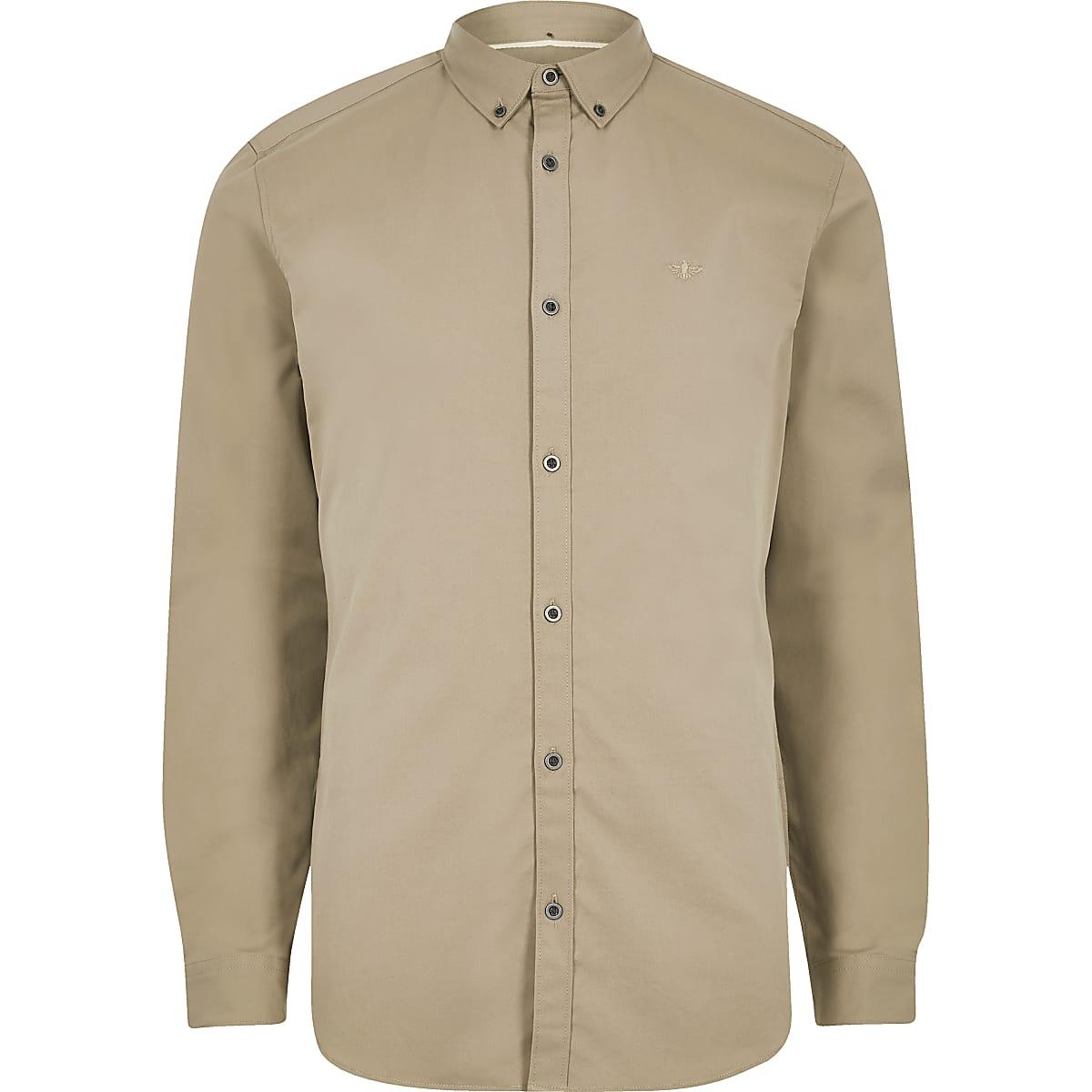 Bruin Overhemd Heren.Bruin Overhemd Met Stretch Geborduurde Wesp En Lange Mouwen