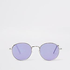 Zilveren zonnebril met ronde spiegelglazen