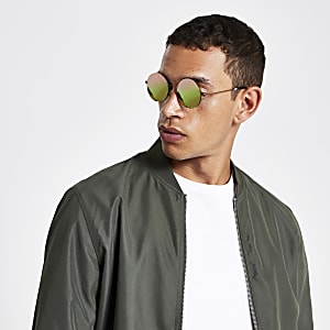 Grijze retro revo zonnebril met ronde glazen