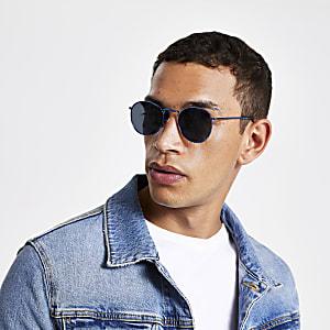 Blauwe revo zonnebril met ronde glazen
